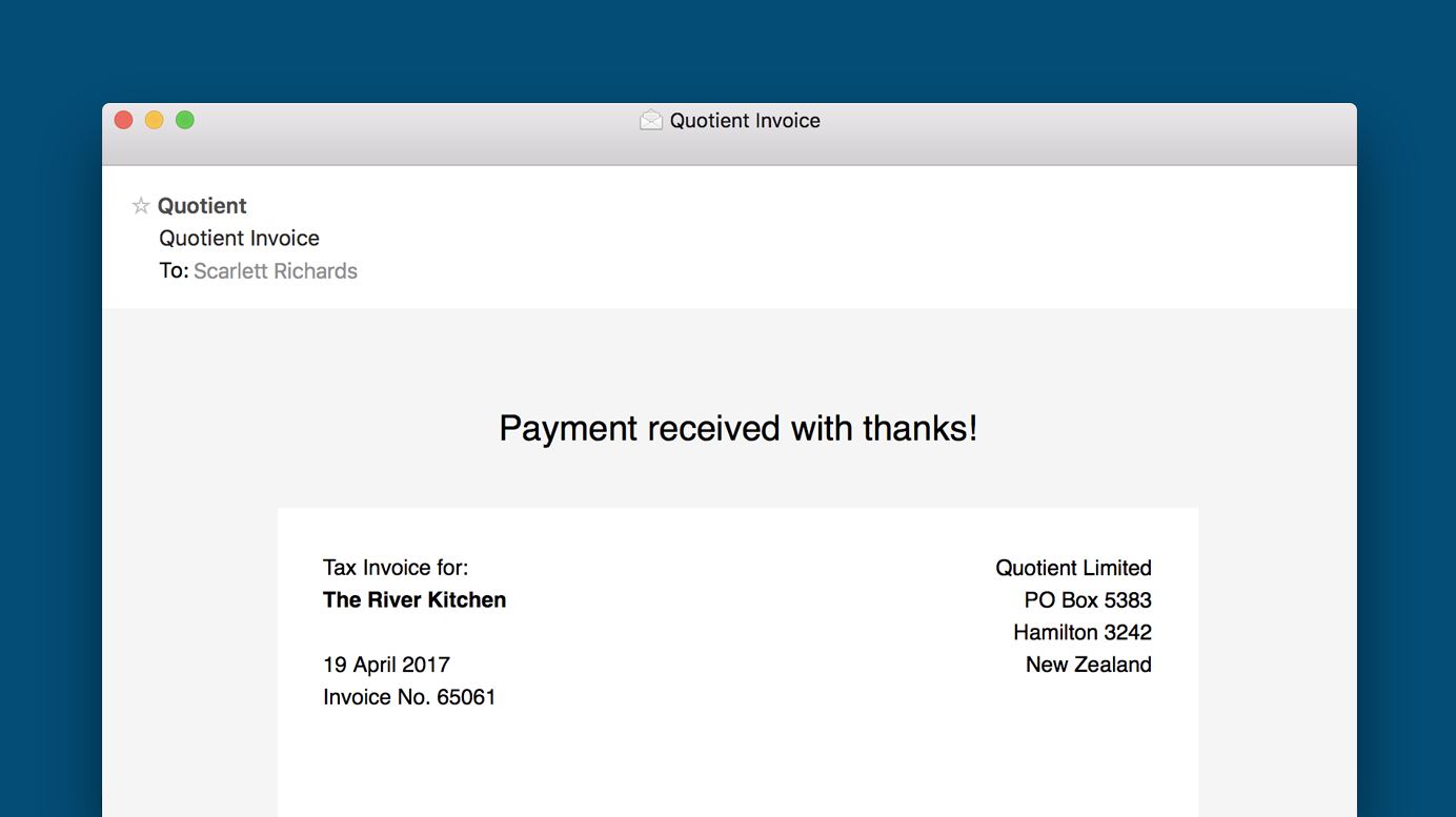 Your Quotient Invoices Receipts - Invoice via email
